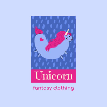 Logo Maker for a Kids' Apparel Brand Featuring a Unicorn Illustration 4123h
