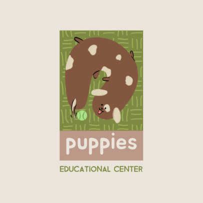 Logo Template for an Education Center Featuring a Puppy Clipart 4123i