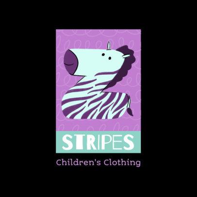 Kids' Apparel Brand Logo Maker With a Zebra Clipart 4123k