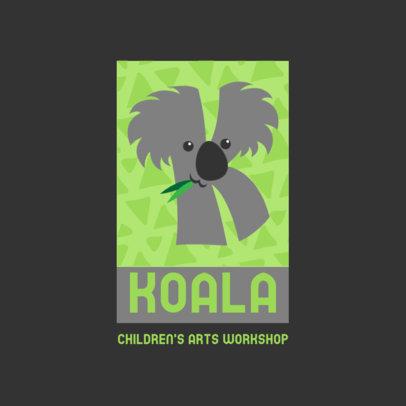 Logo Template for a Children's Art Workshop Featuring a Koala Clipart 4123b