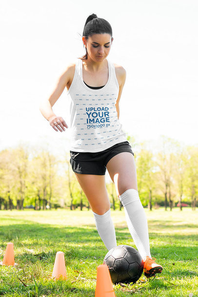 Tank Top Mockup Featuring a Woman at a Soccer Training m2694-r-el2