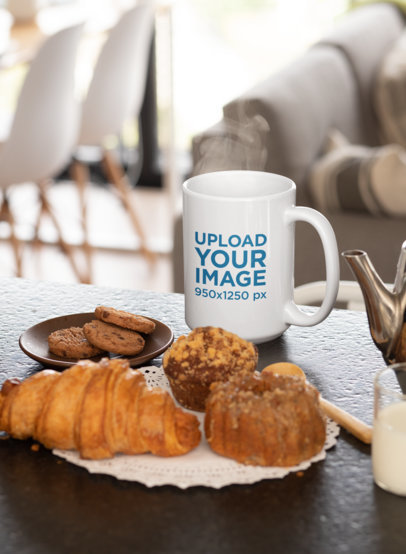 15 oz Coffee Mug Mockup Featuring Some Pastries 33195a
