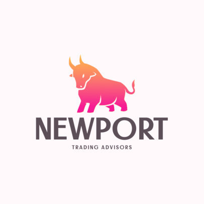 Logo Template for Trading Consultants Featuring a Bull Graphic 4109d