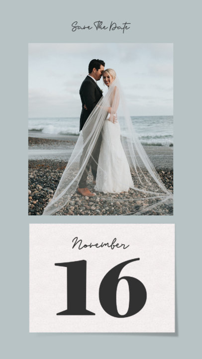 Wedding-Themed Instagram Story Design Template with a Date and a Picture 3630-el1