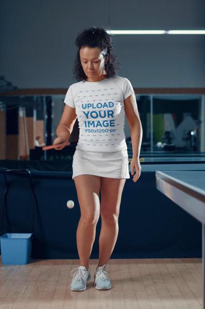 T-Shirt Mockup of a Woman Preparing for a Table Tennis Match M2832-r-el2