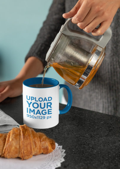 Mockup of a Woman Pouring Coffee into an 11 oz Mug 33182a