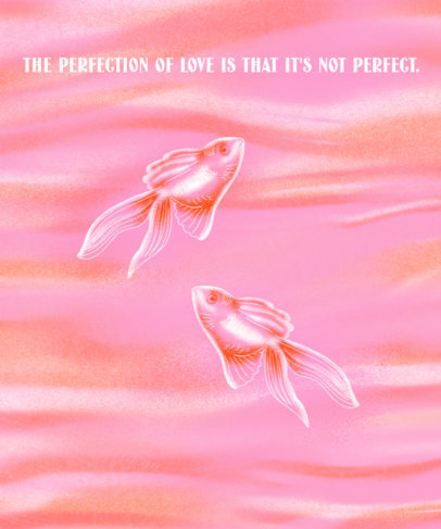 T-Shirt Design Template Featuring a Quote on Love and Fish Graphics 3455d