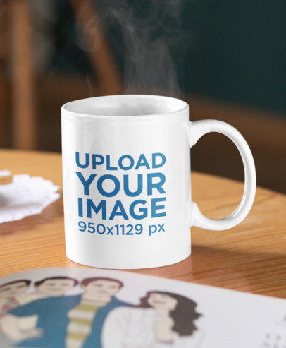 Mockup of a Customizable Coffee Mug Placed On a Wooden Table 33199a