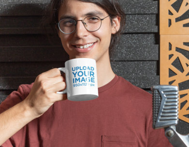 11 oz Mug Mockup of a Happy Man Drinking Coffee at a Recording Studio 33332a