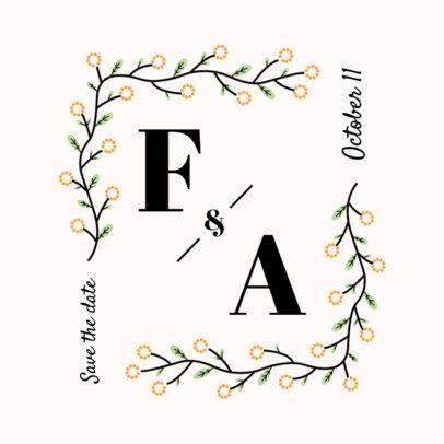 Wedding Logo Maker Featuring a Floral Frame 3650-el1