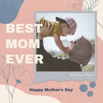Instagram Post Template Featuring Flower Graphics with Mother's Day Quotes 3479