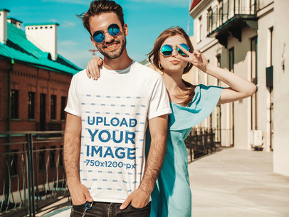 Basic T-Shirt Mockup of a Young Bearded Man Posing With His Girlfriend m1678-r-el2