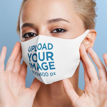 Studio Mockup of a Blonde Woman Wearing a Face Mask m1886-r-el2