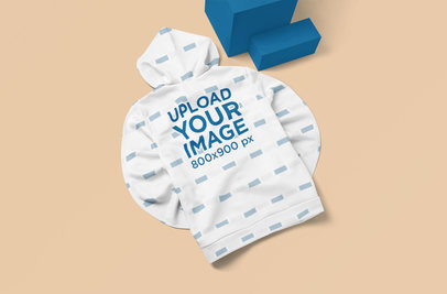 Back View Mockup of a Sublimated Hoodie on a Customizable Surface 5114-el1