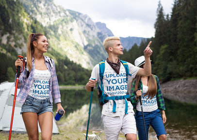 T-Shirt and Tank Top Mockup of a Group of Friends Hiking Through the Mountains M2829-r-el2
