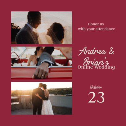 Instagram Post Generator Featuring an Invitation to an Online Wedding 3646a-el1