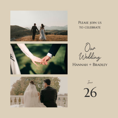 Wedding-Themed Instagram Post Design Template for Engaged Couples 3646e-el1
