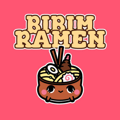 Logo Template for Kid Products with a Chubby Ramen Bowl Character 4146e
