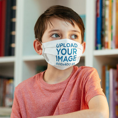 Face Mask Mockup of a Boy at the School Library m2011-r-el2