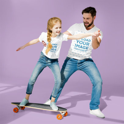 T-Shirt Mockup of a Dad Teaching His Daughter to Skateboard m2556-r-el2