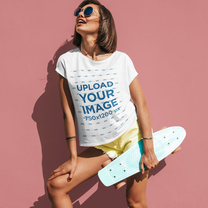 Mockup of a Cool Young Skater Woman Wearing a T-Shirt m1929-r-el2
