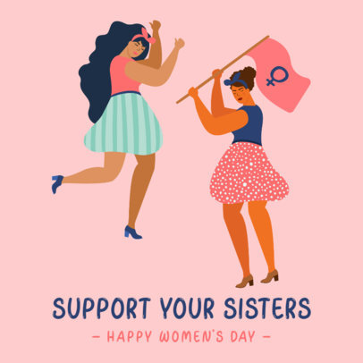 Illustrated Feminist Instagram Post Maker with a Sorority Message 3485a