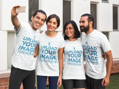 Four Friends Wearing Different T-Shirts Template While Taking a Selfie a15682