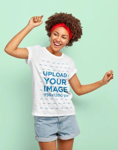 T-Shirt Mockup of a Happy Woman Dancing in a Studio M2613-r-el2