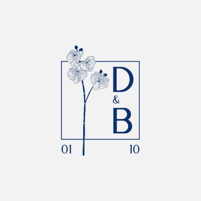 Wedding Monogram Logo Creator with an Illustrated Blossom 3654e-el1