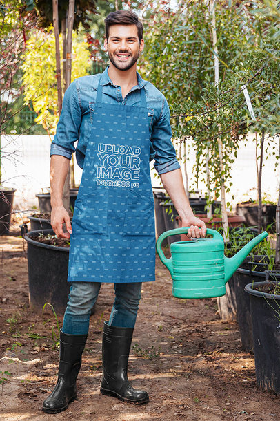 Apron Mockup Featuring a Happy Gardener m2923-r-el2