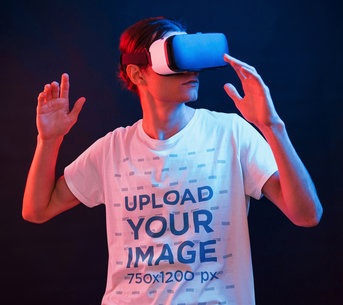 Gaming-Themed Mockup of a Man Using a VR Headset While Wearing a T-Shirt m1442-r-el2