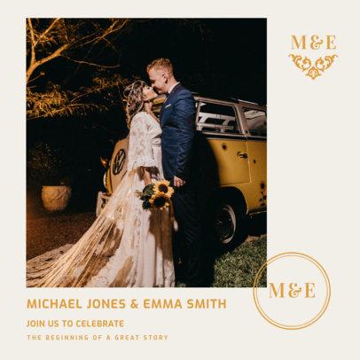 Instagram Post Design Template with an Elegant Wedding Announcement 3638-el1