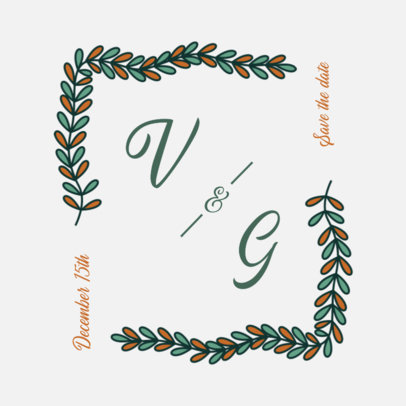 Wedding Logo Template Featuring an Illustrated Frame 3650b-el1