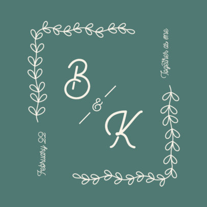 Logo Template for Engaged Couples Featuring a Botanical Frame 3650e-el1