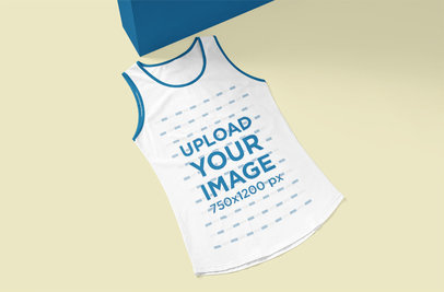 Mockup of a Ringer Tank Top Flat Laid over a Solid Surface 5139-el1