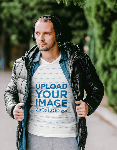 V-Neck T-Shirt Mockup of a Bearded Man Posing with an Athleisure Look M2876-r-el2
