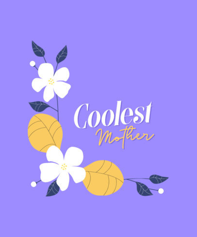 T-Shirt Design Template for a Cool Mom with a Floral Graphic 3477h