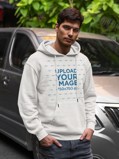 Mockup of a Young Man Posing with a Hoodie in Front of a Truck 5125-el1
