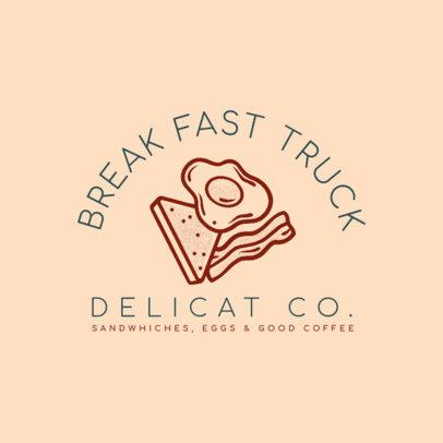 Breakfast Food Truck Logo Creator with an Egg Sandwich Graphic 1213b-4138