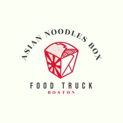 Food Truck Logo Maker with a Graphic of a Box of Noodles 1213r-4138