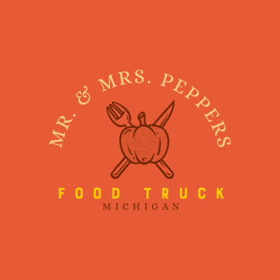 Simple Logo Creator for a Food Truck with a Pumpkin Graphic 1213t-4138