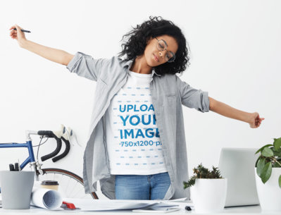 T-Shirt Mockup of a Tired Woman Working from Home m2628-r-el2