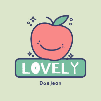 Cute Logo Maker Featuring a Kawaii Apple Clipart 4147d