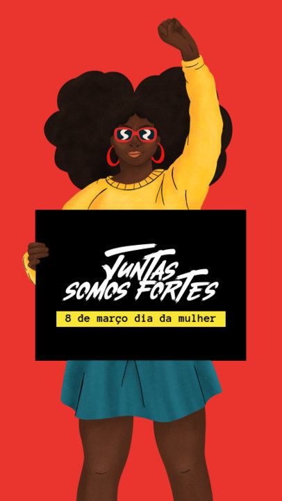 Instagram Story Maker with an Illustration of a Brazilian Woman Holding a Sign 3488a