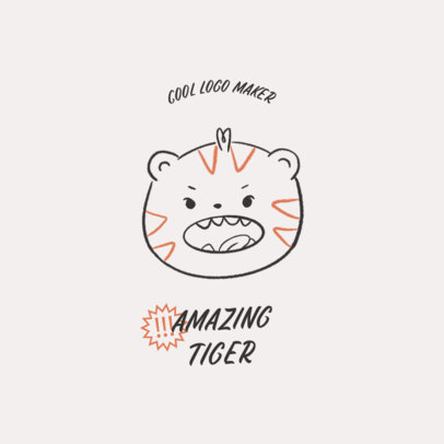 Online Logo Maker for a Baby Apparel Brand with a Tiger Doodle 4141e