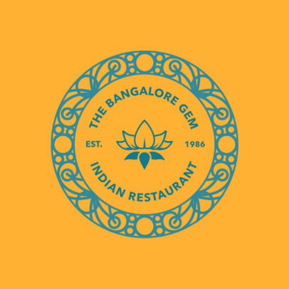 Indian Restaurant Logo Maker Featuring a Flower Graphic 4135f