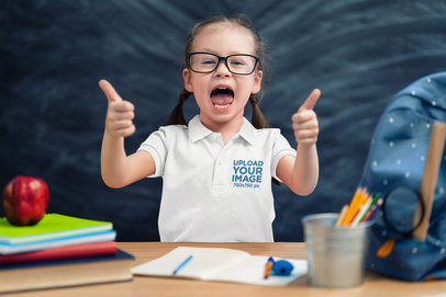 Polo Shirt Mockup of a Happy Little Girl with Thumbs Up m2477-r-el2