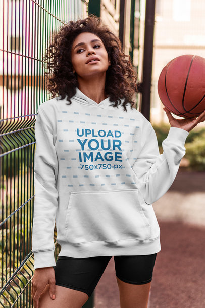 Hoodie Mockup Featuring a Woman With a Basketball 5132-el1