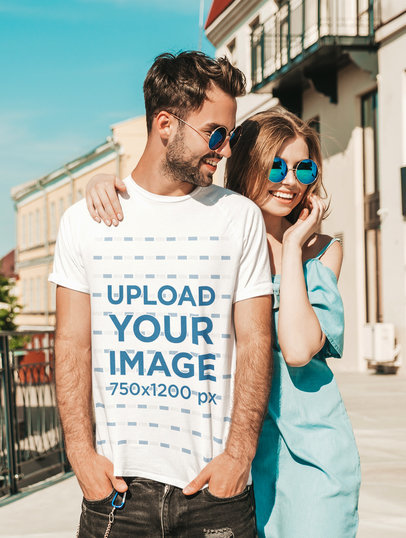 T-Shirt Mockup of a Man with Sunglasses Hanging Out with His Girlfriend m1938-r-el2