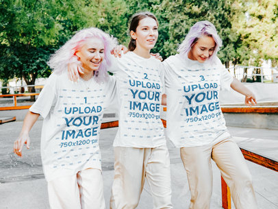 T-Shirt Mockup of Three Teenage Girls at a Skatepark m1748-r-el2